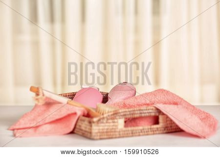 Beautiful spa composition on blurred background