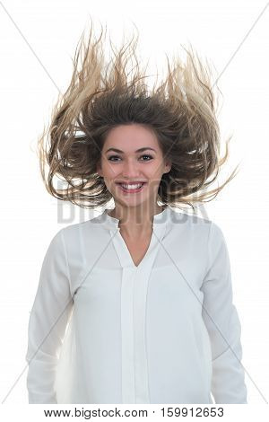 the girl with the developing hair it is photographed in studio on a white background.