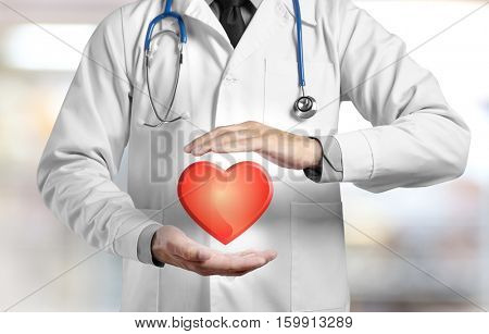 Cardiologist with heart in hands, closeup. Light background. Cardiology concept.