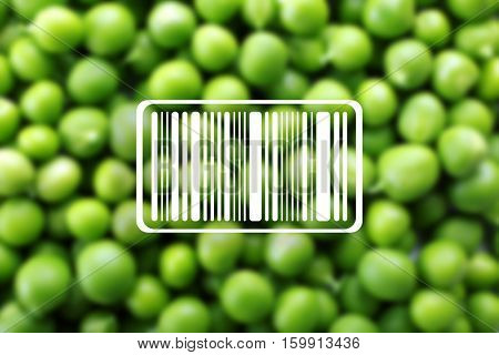 Barcode on blurred green peas background. Wholesale and retail concept.