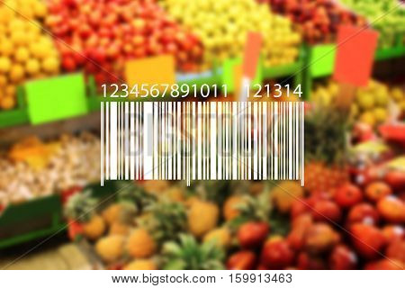 Barcode on blurred products background. Wholesale and retail concept.