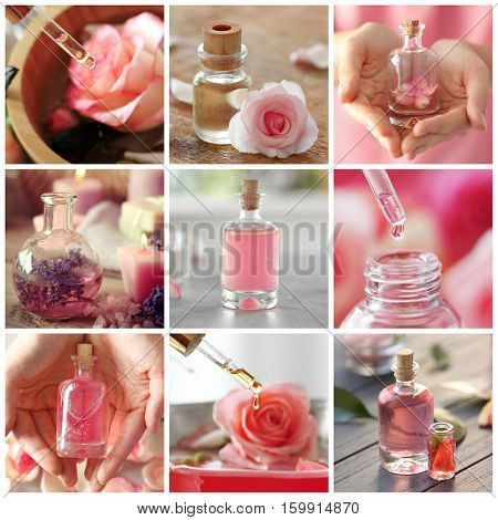 Essential oils collage. Aromatherapy and beauty treatment concept.