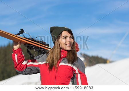 Asian Girl Tourist Snowboard Ski Resort Snow Winter Mountain Happy Smiling Woman On Holiday Extreme Sport Vacation