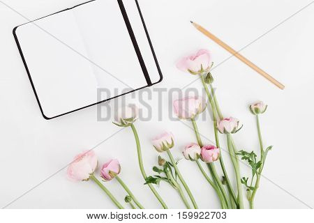 Beautiful spring Ranunculus flowers and empty notebook on white desk from above. Mockup. Pastel color. Clean space for text. Flat lay style.