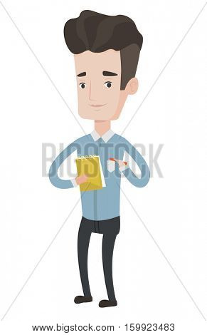 Young journalist writing in notebook with pencil. Journalist writing notes with pencil. Caucasian journalist writing notes on the notepad. Vector flat design illustration isolated on white background.