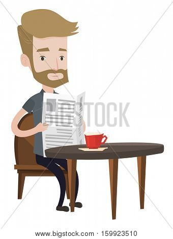 Hipster man reading newspaper. Young man reading news in newspaper. Caucasian man sitting with newspaper in hands and drinking coffee. Vector flat design illustration isolated on white background.
