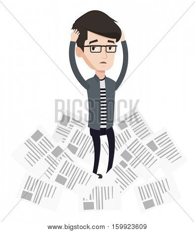 Overworked businessman having a lot of paperwork. Businessman surrounded by lots of papers. Businessman standing in the heap of papers. Vector flat design illustration isolated on white background.