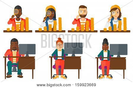Stressed office worker. Overworked business woman feeling stress from work. Stressful employee sitting at workplace. Concept of stress at work. Set of vector illustrations isolated on white background