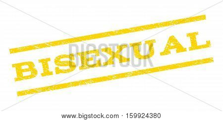 Bisexual watermark stamp. Text tag between parallel lines with grunge design style. Rubber seal stamp with scratched texture. Vector yellow color ink imprint on a white background.