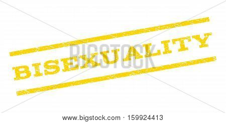 Bisexuality watermark stamp. Text caption between parallel lines with grunge design style. Rubber seal stamp with dust texture. Vector yellow color ink imprint on a white background.