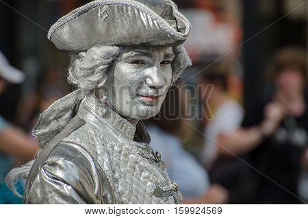 Living Statue Of Wolfgang Amadeus Mozart In Vienna. Austria