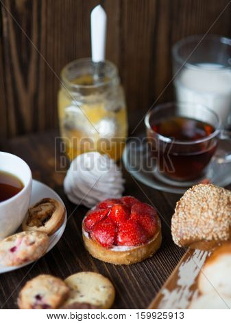 Breakfast table with pastries and drinks