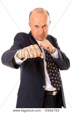 businessman want to fight with his competitor. isolated on white