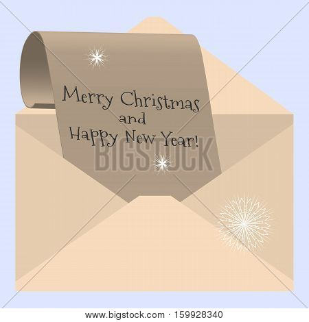 Vector illustration congratulations on Christmas and New Year - a letter from the envelope