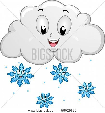 Mascot Illustration Featuring Happy Snowflakes Dropping down from a Rain Cloud