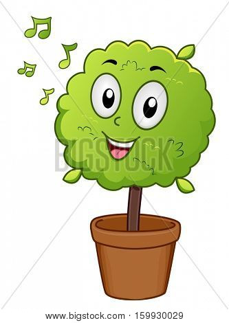 Mascot Illustration of a Potted Indoor Plant Singing Along as it Listens to Music