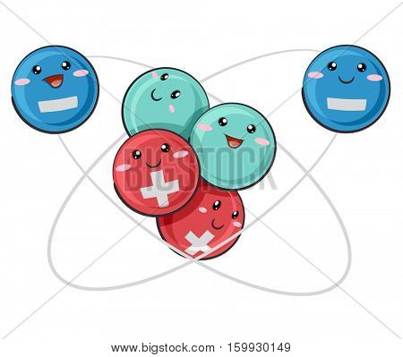 Mascot Illustration of an Atomic Model Featuring Positive, Negative, and Neutral Particles