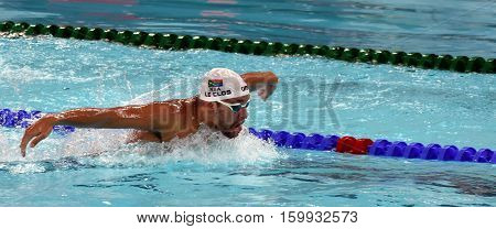 Hong Kong China - Oct 29 2016. Olympic and world champion swimmer LE CLOS Chad (RSA) swimming in the Men's Butterfly 200m Final. FINA Swimming World Cup Victoria Park Swimming Pool.