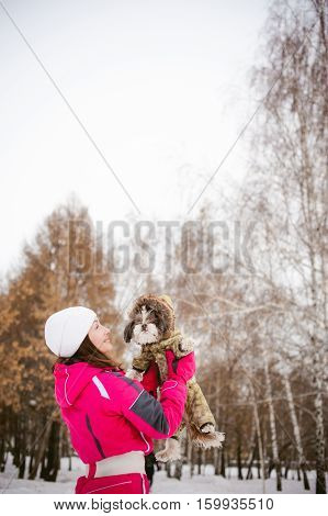 Dog Throws Up Into The Sky. Walk In The Winter Outdoors With A Dog Breed Shih Tzu. A Woman In A Brig