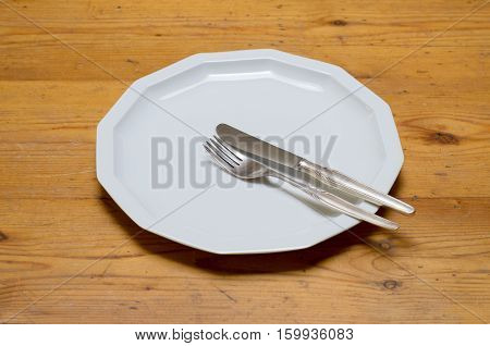Empty White Dinner Plate With Knife And Fork