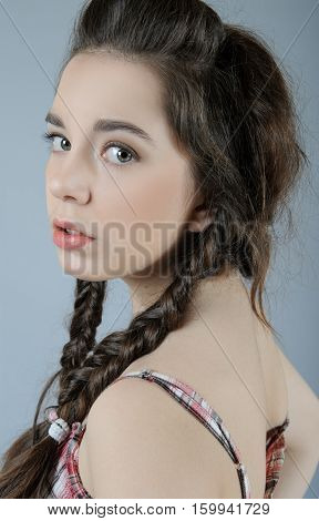 Beauty Portrait Of A Beautiful Young Girl On A Light Background Seom..