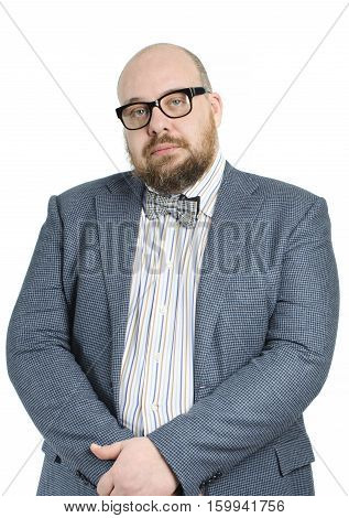 Bald Bearded Man In A Bow Tie And Jacket..