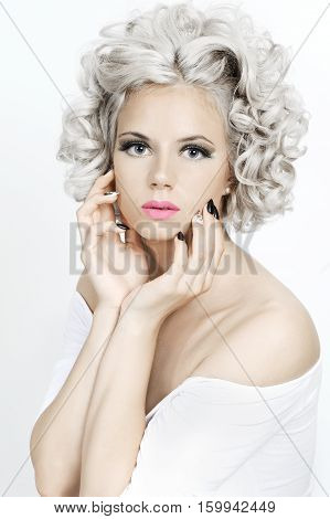 Beauty Portrait Of A Girl With Curly Silver Hair..