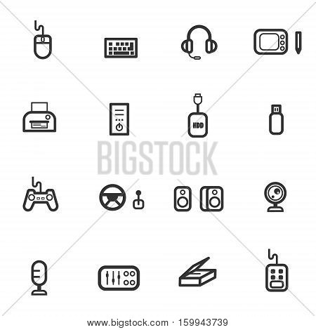 computer accessories icon set vector eps 10