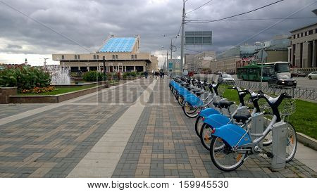 Russia, Tatarstan - September 14, 2016: The terminal of automatic bicycle rental in Kazan