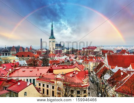 Tallin Aerial View of Old Town from Toompea Hill with rainbow Estonia