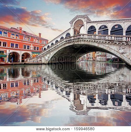 Venice - Rialto bridge and Grand Canal at sunset