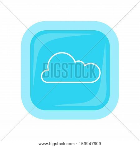 Cloud storage web button isolated on white. Flat style design. Online storage sign symbol icon. Cloud computing, backup, data network internet web connection. Saving information. Vector illustration