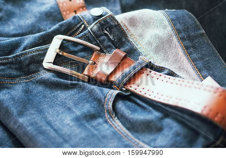 Close-up Jeans with Leather Belt, Men Concept