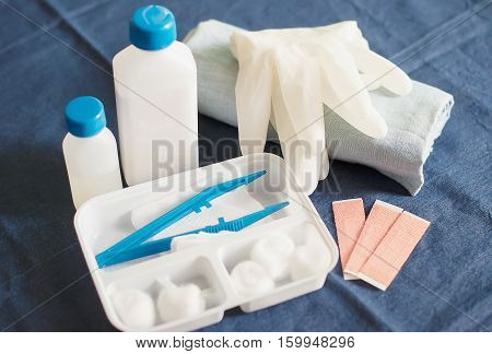 Set of First Aid Kit on Table