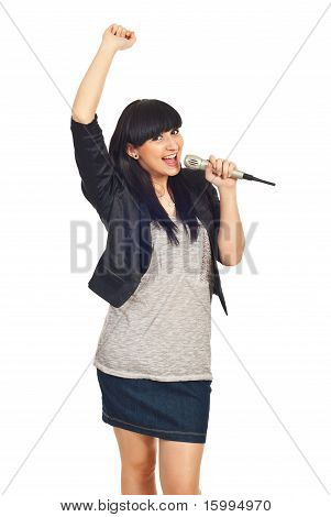 Happy Rock Girl Sing In Microphone