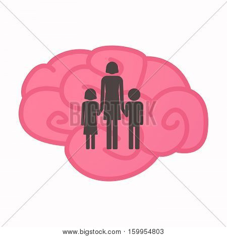 Isolated Brain With A Female Single Parent Family Pictogram