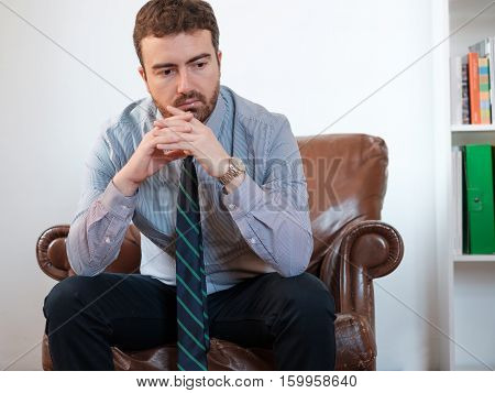 Portrait Of One Businessman Manager Worried And Stressed