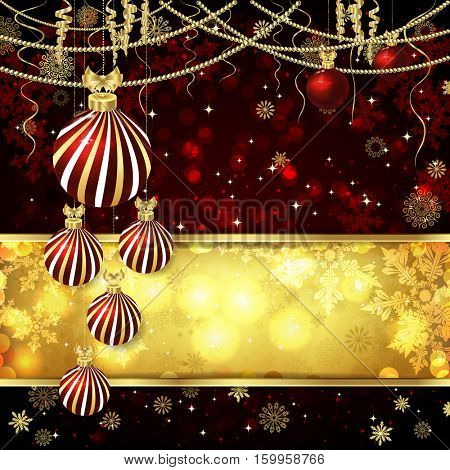 Christmas card with Christmas balls, Christmas decor, snowflakes. Golden and red background.