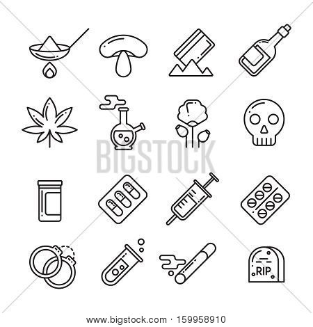 Drugs, heroin, alcohol, smoking addiction thin line vector icons. Marijuana and drugs in syringe, mushroom and cocaine drug illustration