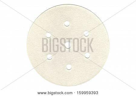 Velcro grinding sanding disc isolated on white.