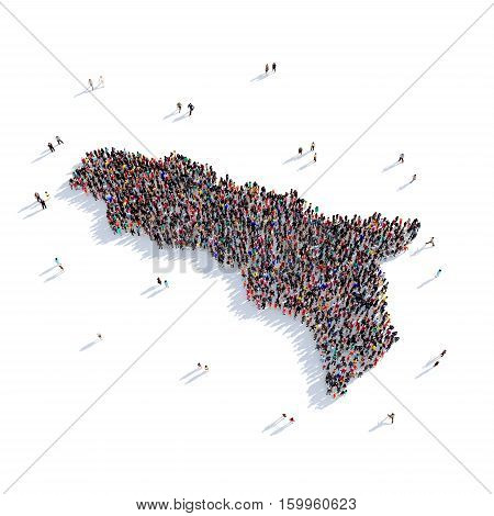 Large and creative group of people gathered together in the form of a map Abkhazia. 3D illustration, isolated against a white background.
