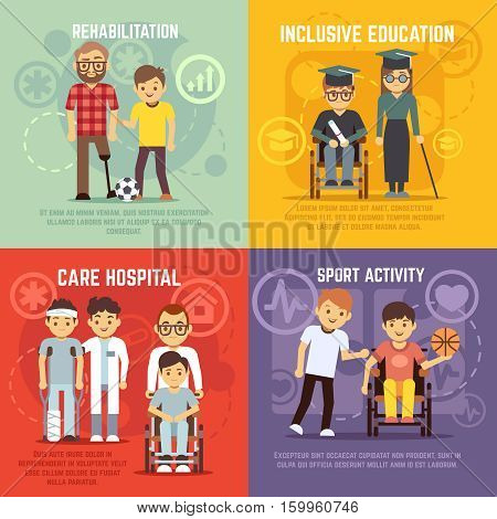 Disabled person care vector flat concepts set. Inclusive education and sport active for disabled person, rehabilitation disability illustration