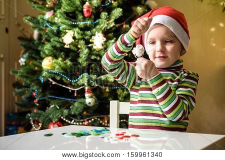 Kid Child Boy Making By Hands X-mas Decorations