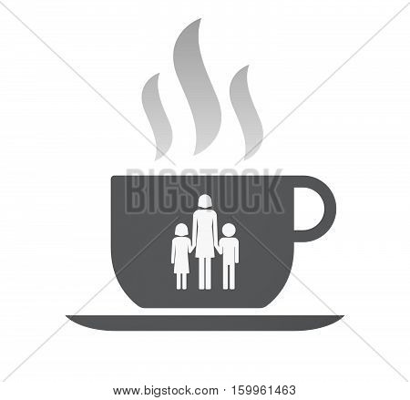 Isolated Coffee Cup With A Female Single Parent Family Pictogram
