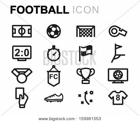 Vector line football icons set on white background