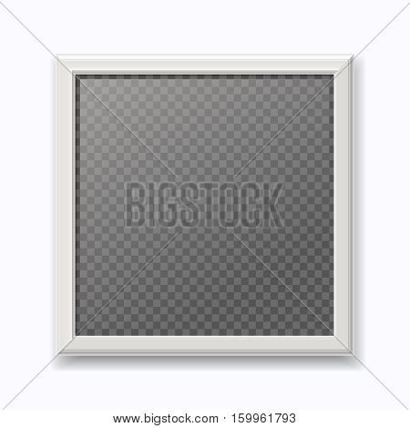 Realistic white picture frame, modern empty photo frame isolated on white wall. Square photo for exhibition illustration