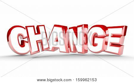Change Different New Adaptation Word 3d Illustration