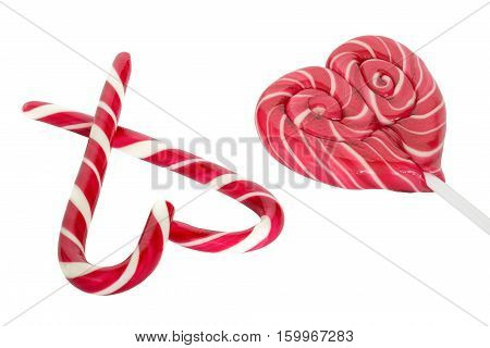 Christmas sugar candy cones heart shaped isolated on white background