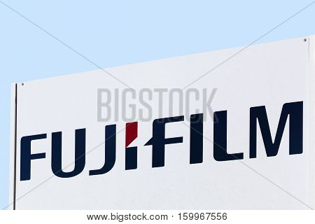 Brece, France - October 30, 2016: Fujifilm logo on a panel. Fujifilm or simply Fuji is a Japanese multinational photography and imaging company headquartered in Tokyo