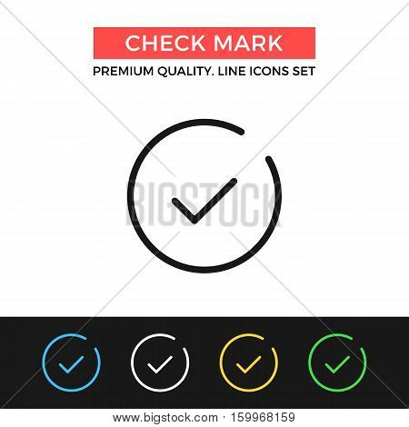 Vector check mark icon. Checkmark, tick concept. Premium quality graphic design. Modern signs, outline symbols collection, simple thin line icons set for websites, web design, mobile app, infographics
